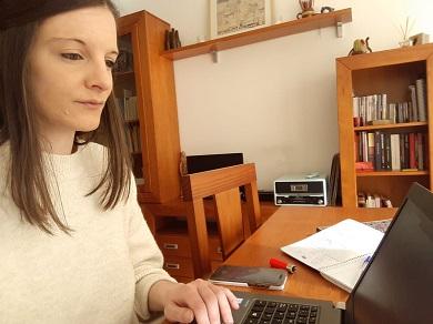 Olalla Rodil durante a videoconferencia