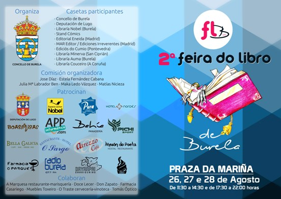 A II feira do libro de Burela acollerá diversas actividades como presentacións de libros, actuacións musicais ou debates con escritores