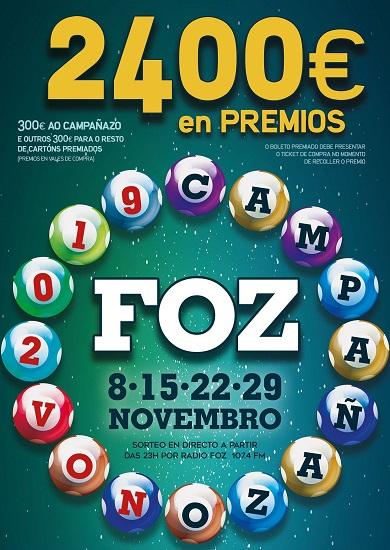 Este venres terá lugar o segundo sorteo do Campañazo de novembro, que organiza o Centro Comercial Aberto de Foz