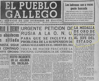 O BNG de Mondoñedo pide que sexa retirada a Medalla de Ouro da cidade concedida a Franco