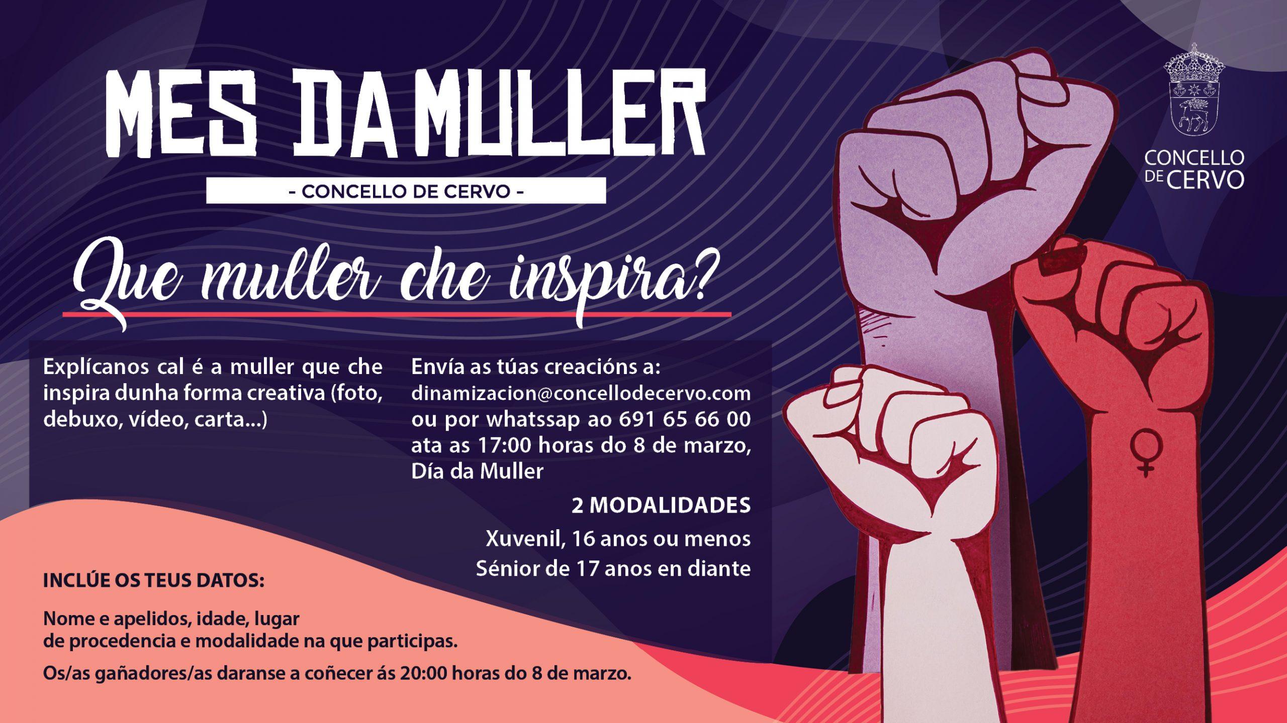 Que muller che inspira?, concurso virtual polo 8M do Concello de Cervo