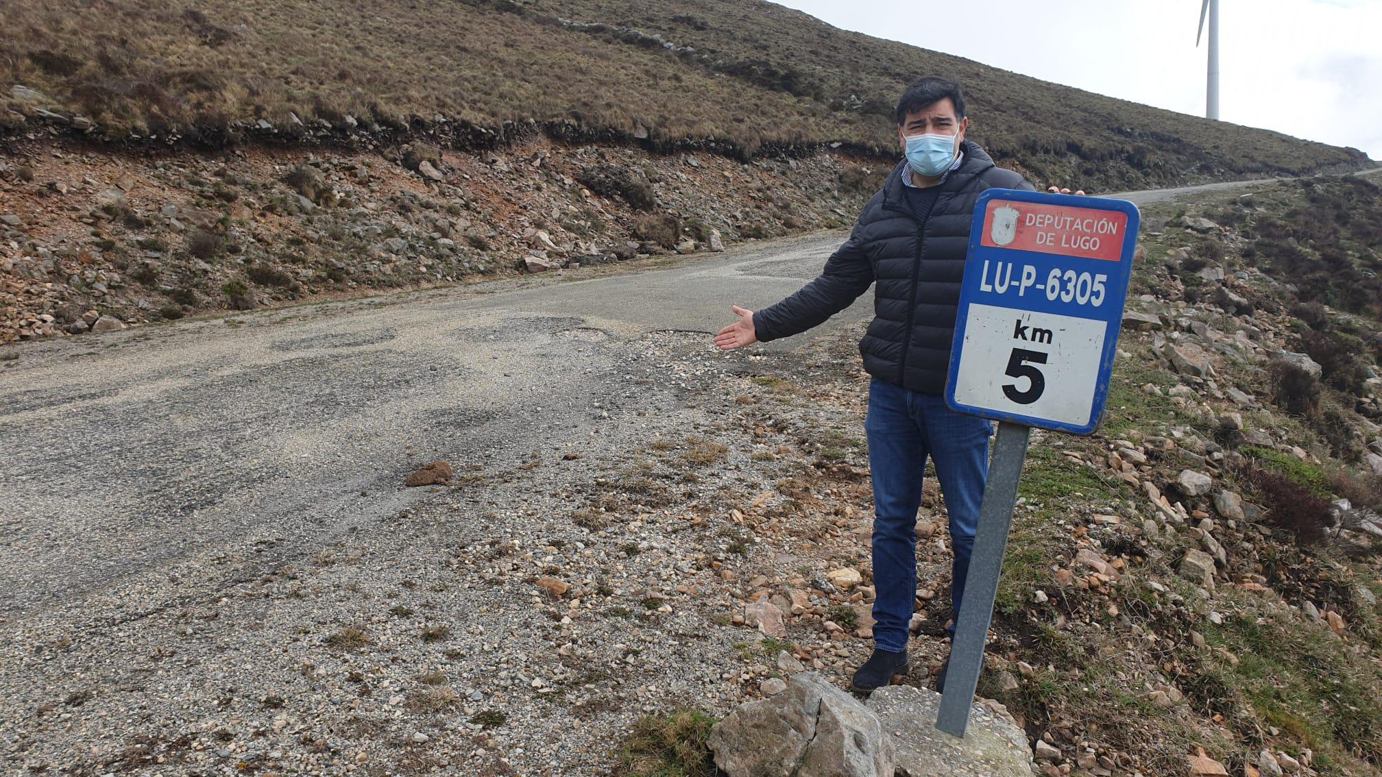 O PP pide o arranxo da deteriorada estrada do Cadramón, a LU-P 6305