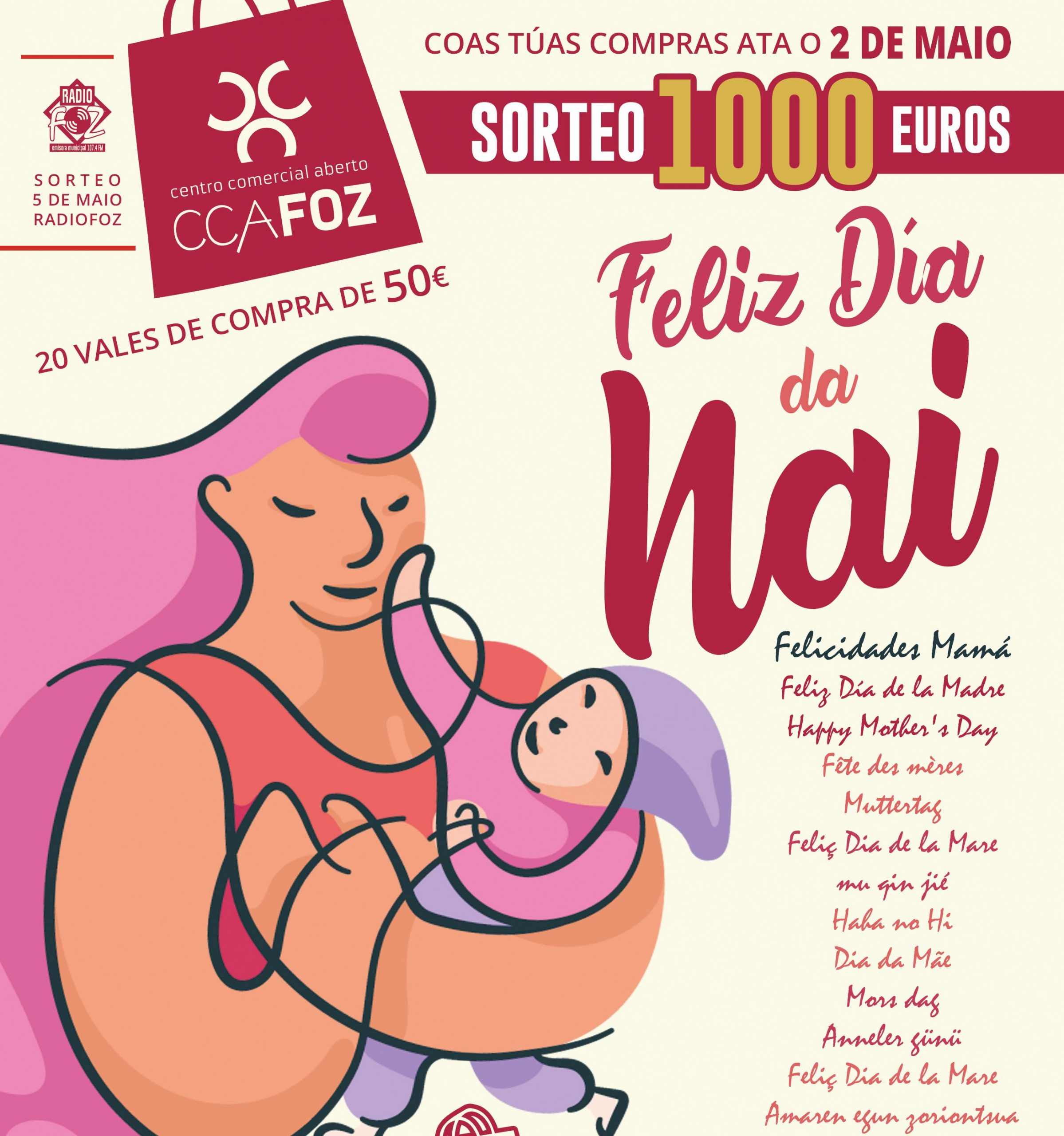 1.000€ en vales de compra na  campaña do Día da Nai da  AciaFozCCA
