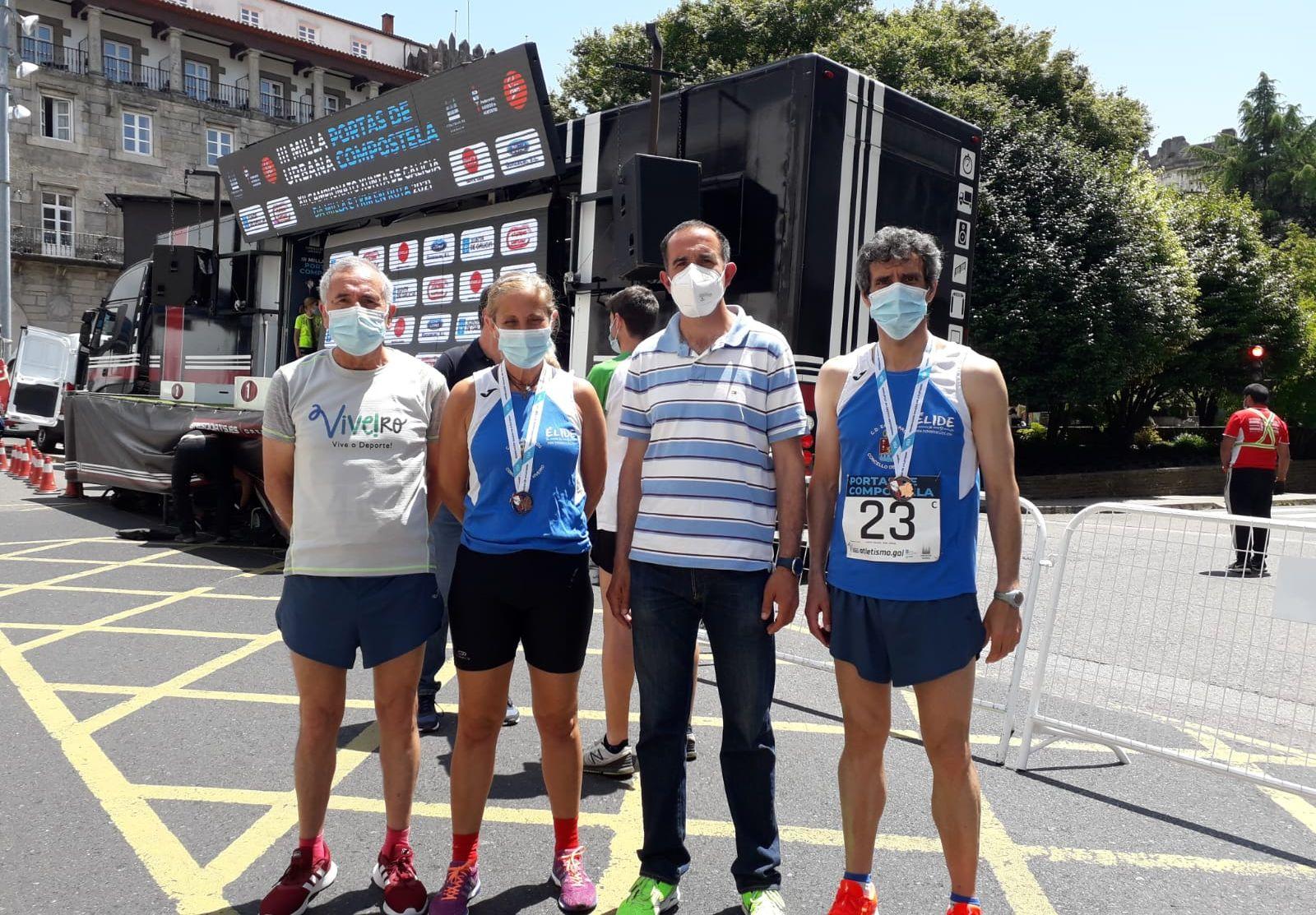 Dúas medallas de prata e dúas dos atletas do C.D. Egovarros-Viveiro no Campionato Galego de milla de categoría Máster