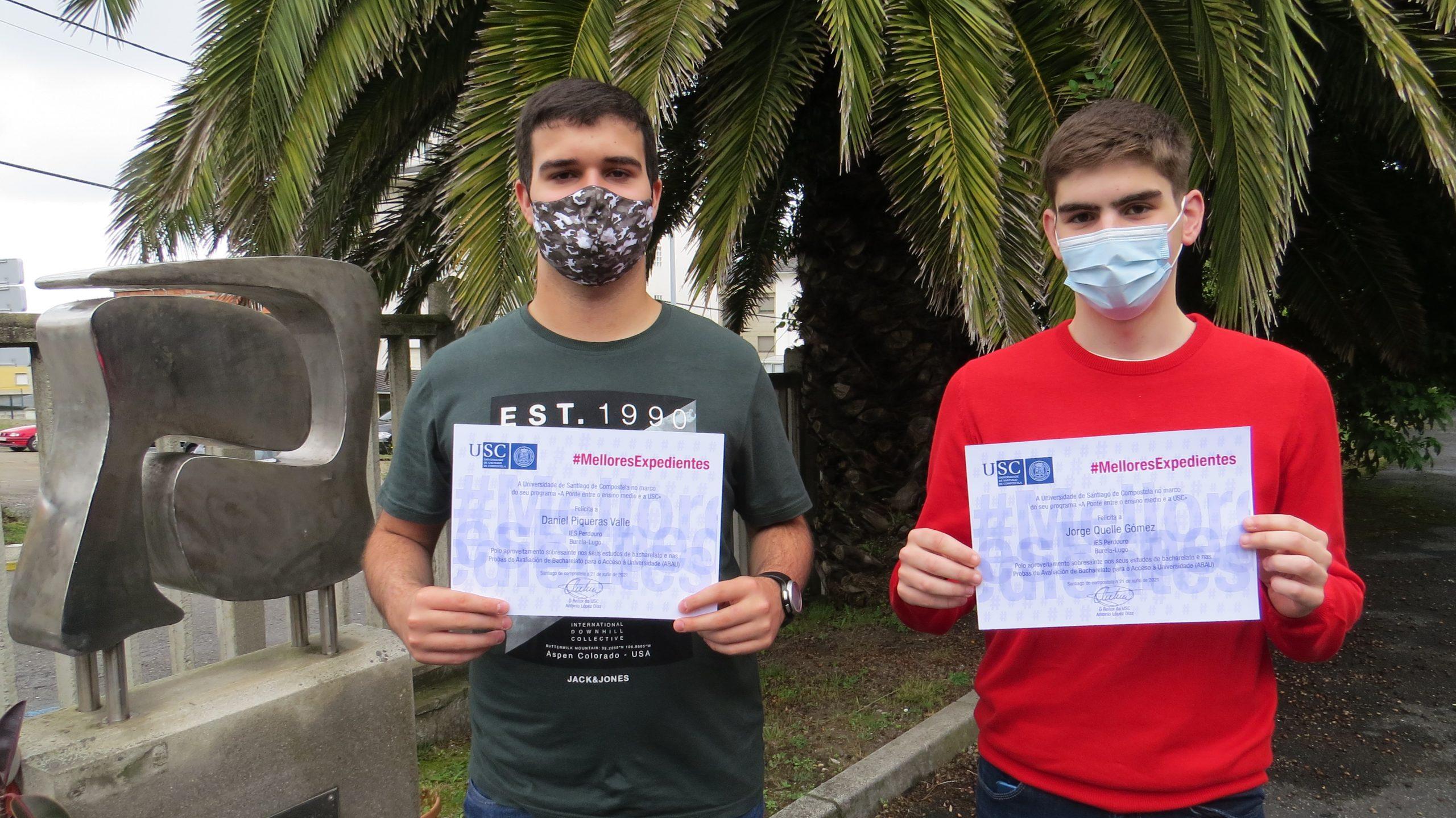 2 alumnos do IES Perdouro de Burela recoñecidos entre os mellores expedientes académicos nas probas de acceso á universidade