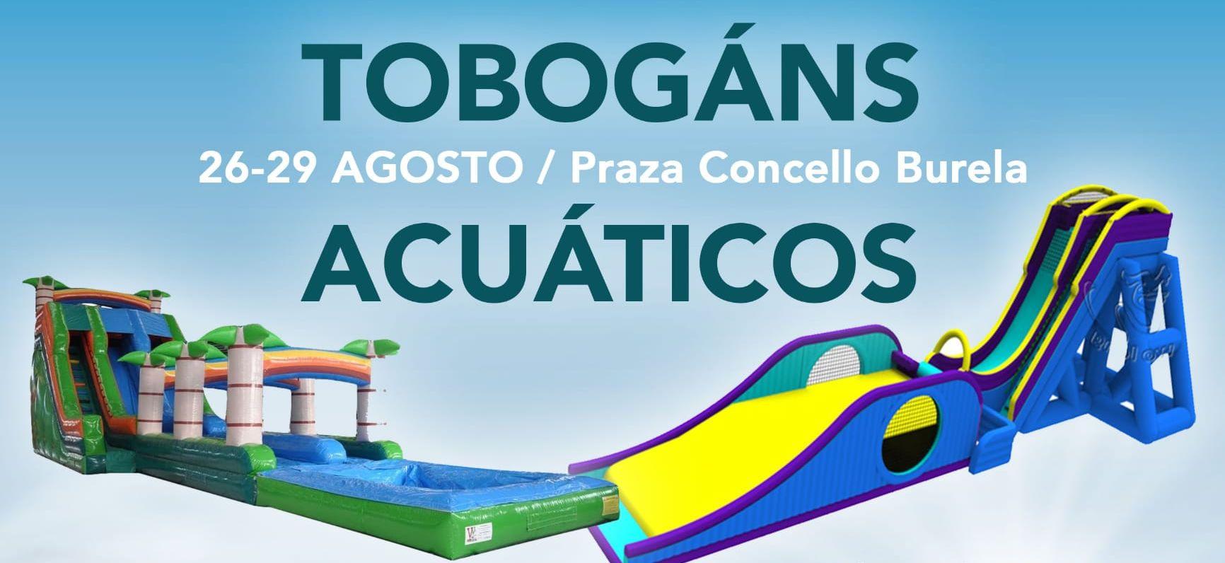 Dous tobogáns acuáticos encherán de diversión a Praza do Concello de Burela desde este xoves ata o domingo