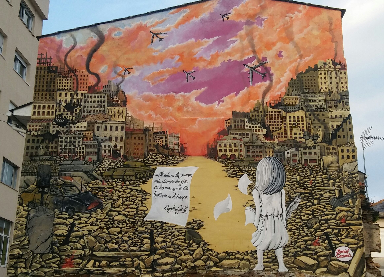Finalizados os traballos na pintura mural realizada polo artista Daniel Carreira en Foz